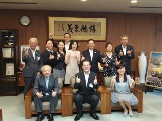 6月28日16:30 (台灣)亞太國際溫泉旅遊協會周水美理事長拜訪日本松山市野志 克仁 市長